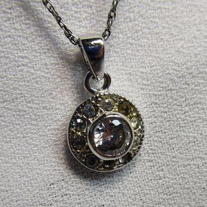 Dainty CZ and 925 Silver Pendant Necklace